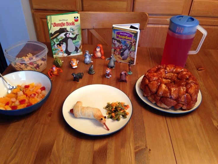 The Jungle Book Dinner - Kaa's Ssssssnake Hotdogs, Baloo and Mowgli's Jungle Fruit, Vegetables from the Man Village, King Louie's Monkey Bread, Jungle Snack Mix (animal crackers, strawberry yogurt raisins, fruit shaped fruit snacks and sour punch straws for vines) and Jungle Juice - The Jungle Book Movie Night - Disney Movie Night - Family Movie Night