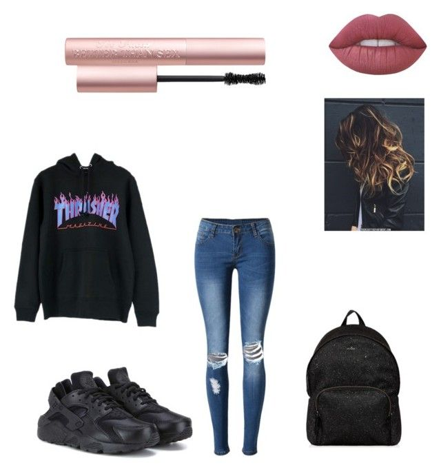 """Sans titre #5"" by dina-chevenement on Polyvore featuring mode, WithChic, NIKE, Hogan, Lime Crime et Too Faced Cosmetics"