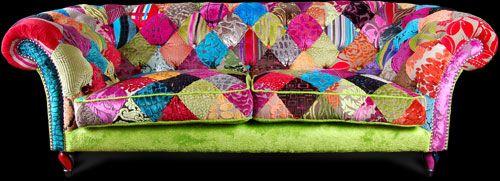 Ginny Avison patchwork sofa pink and green