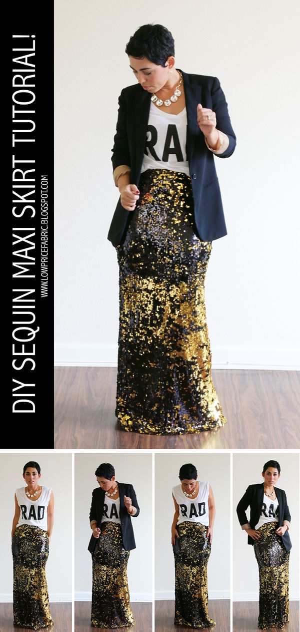 FREE DIY Sequin Maxi Skirt Tutorial! #mimigstyle