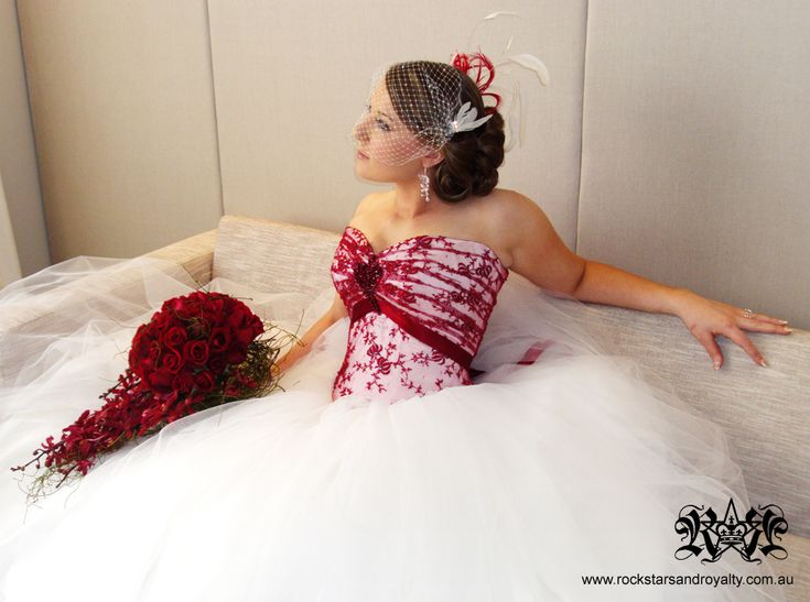 Wedding Gown - Ivory silk and red lace corset and full ivory tulle skirt