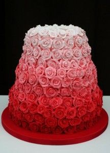Ombre Pink Roses Cake.        This lovely cake is the work of Janet Mohapi-Banks, a wonderfully talented baker and cake artist located just outside London, England.: Idea, Weddings, Ombre Cake, Roses, Red Rose, Wedding Cakes, Rose Cake