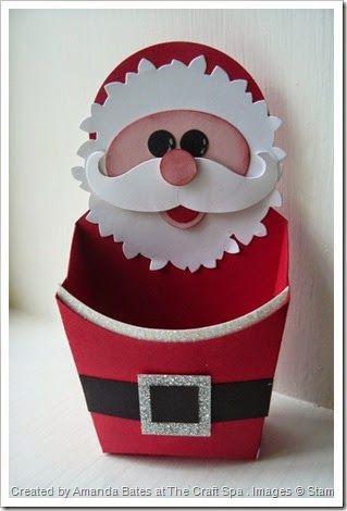 Wonderful Wreath Santa on a Santa Belt Fry Box . Moustache die, Fry Box Die. By Amanda Bates, Independent UK Stampin' Up! demonstrator at The Craft Spa