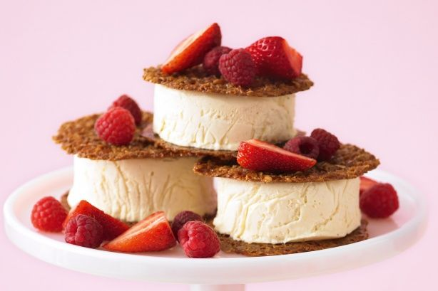 Frozen white chocolate mousse sandwiches - These oat crisps are just like Anzac biscuits, only crunchier! Snack on the leftovers or crumble over ice-cream.
