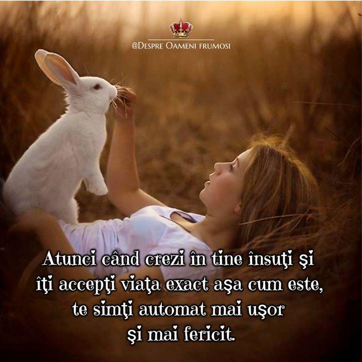 Atunci când crezi în tine însuţi şi îţi accepţi viaţa exact aşa cum este realizând că problemele cu care te confrunţi sunt în realitate paşi către o libertate mai mare şi că nu trebuie neapărat să ai dreptate sau să ai ultimul cuvânt te simţi automat mai uşor şi mai fericit.  Zi cu frumos în Suflet! __________  Despre Oameni frumosi  - postări din Suflet pentru Suflet   https://ift.tt/2xyywKb  - o arhivă cu cele mai frumoase 500 postări de pe facebook