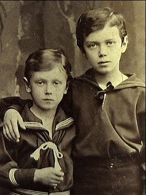 Grand Duke George and Nicholas (future Tsar Nicholas II).  George died at a young age, never being able to see his brother as Tsar.
