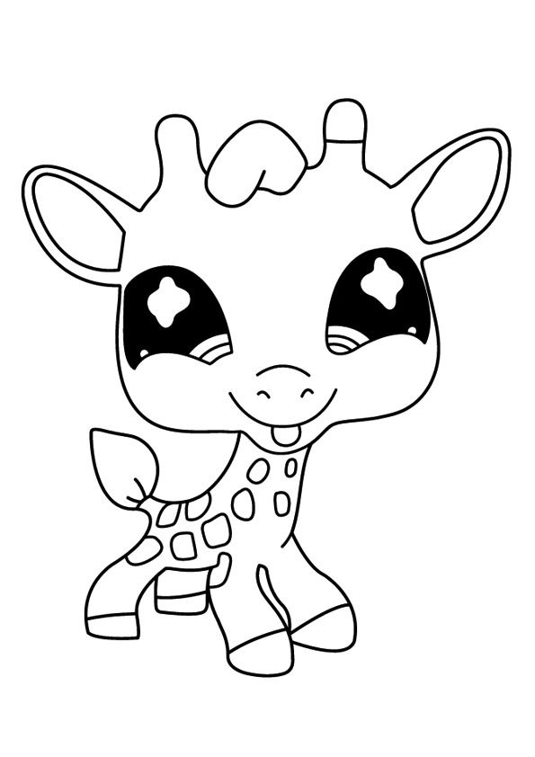 print coloring image EZ Easy Coloring Pagez Giraffe