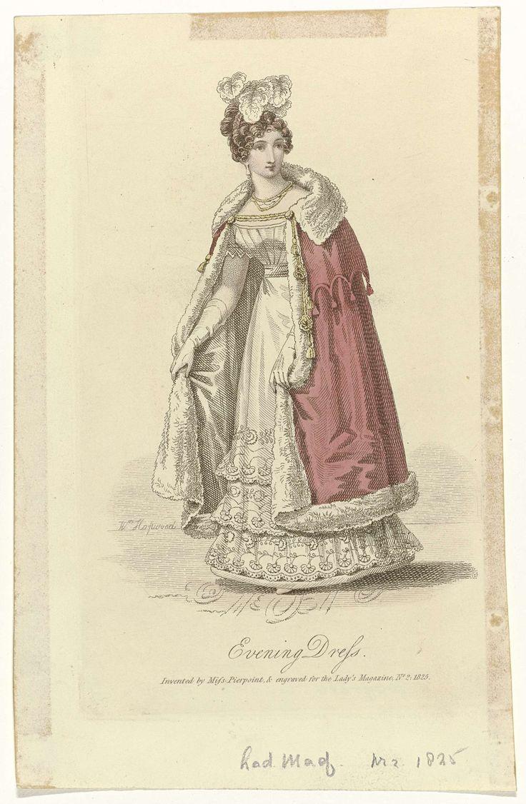 William Hopwood | The Lady's Magazine, 1825, No. 2 : Evening Dress..., William Hopwood, Miss Pierpoint, 1825 | Avondjapon, bij de zoom versierd met een bloem- en bladmotief. Avondmantel, afgezet met bont, met schouderkraag met geschulpte zoom en kwasten. Accessoires: oorbellen, collier en lange handschoenen. Prent uit het modetijdschrift The Lady's Magazine (1770-1837).