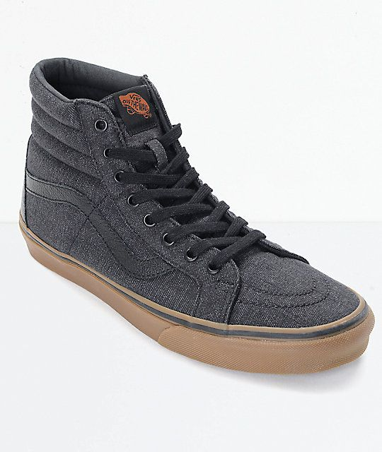 c7c4479204 Vans Sk8-Hi CL Black Denim   Gum Skate Shoes
