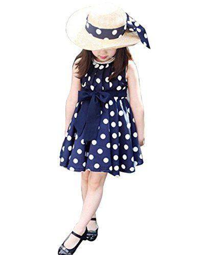 Robes de fille,Xinan Chiffon Polka Dot Fille Robe Robe (S, bleu): Matériel: en mousseline de soie, très confortable à porter. Style: Casual…