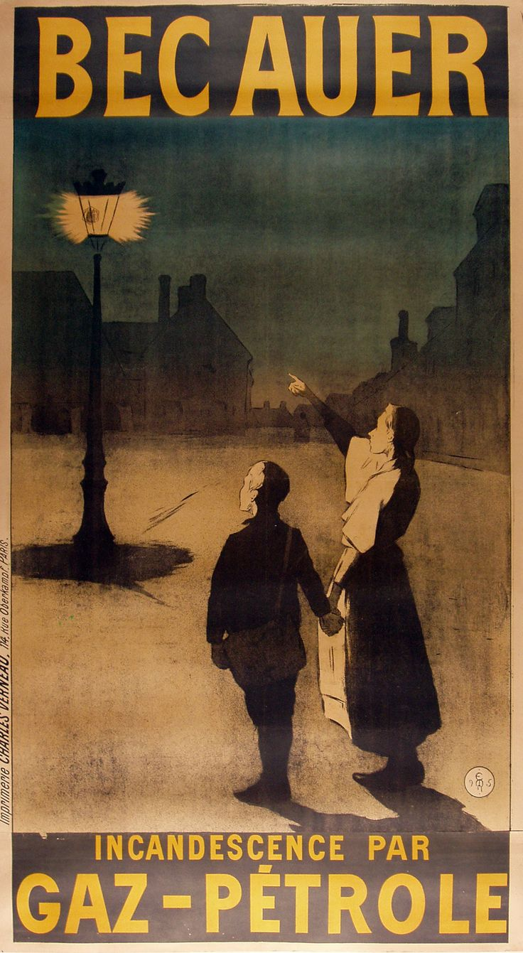 BEC AUER GAZ PETROLE  ADVERTISING POSTER ~ Artist Etienne Moreau-Nelaton ~ Printed c. 1895 Country of Poster France Linen Backed Three sheet poster with text banners separate. Bec Auer or Welsbach Burner is a type of mantle used in light fixtures or lanterns.