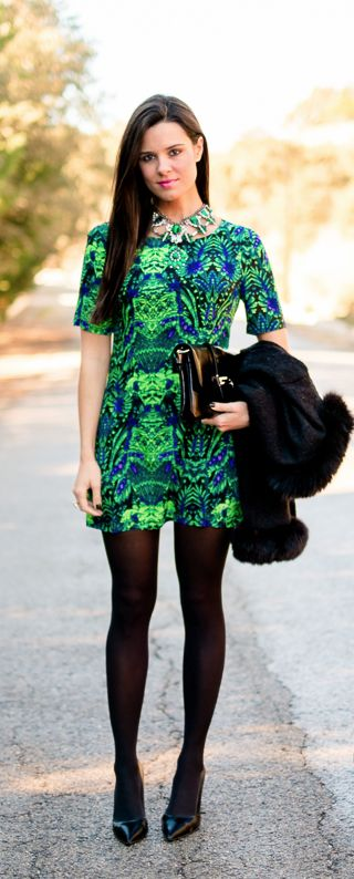 Vestido verde y azul Crimenes de la Moda - Green and blue dress Ewigem - collar Zara necklace