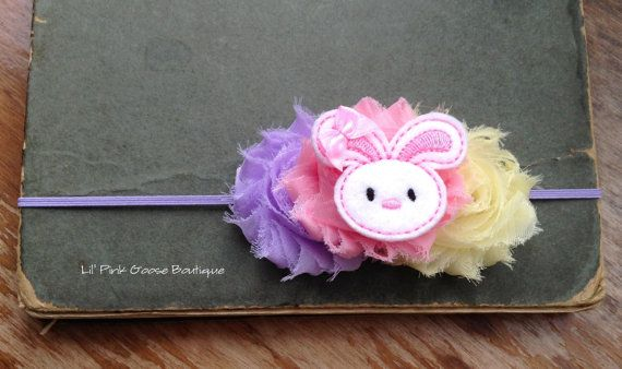 These would be so perfect for my Easter Basket this year!! BABY EASTER Headband Newborn Headband Shabby Chic by LilPinkGoose, $9.95 #EasterBasket