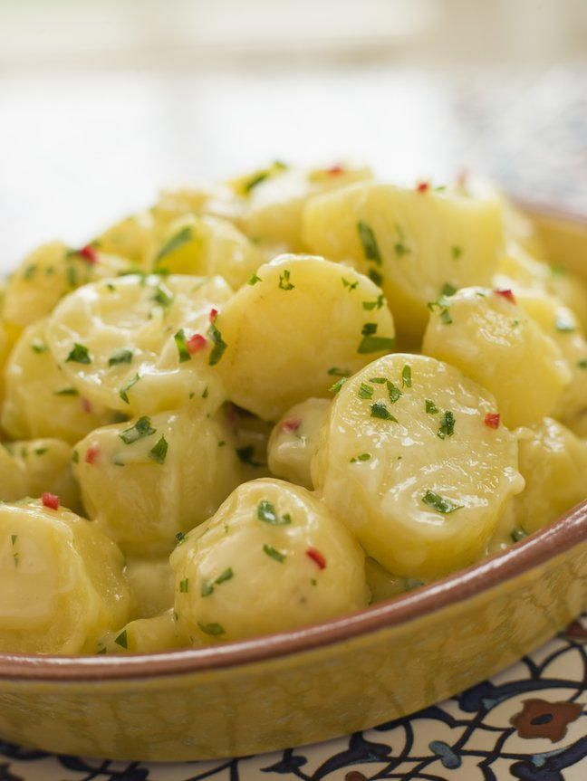 This recipe from my oma is one of those classic potato salad recipes that you will always love.  Of course, Oma used real bacon in her original recipe. So if you want to make it a bit healthier, you can use bacon bits like Bac-Os.