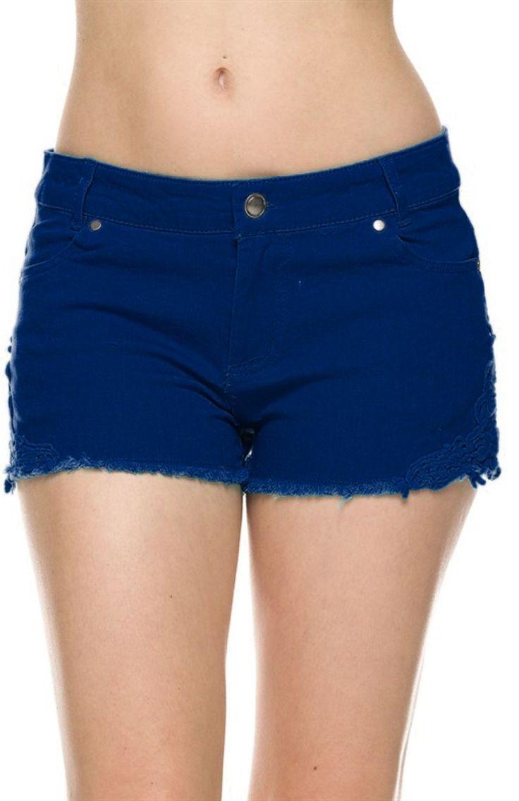 Cutoff Jean Shorts W/ Crochet Lace Trim