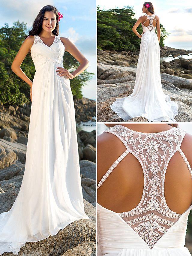 Sheath/Column Plus Sizes Wedding Dress - Ivory Court Train V-neck Chiffon - USD $159.99