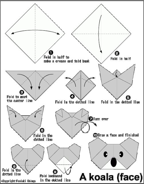Easy origami for kids koala face school writing - Video d origami facile ...