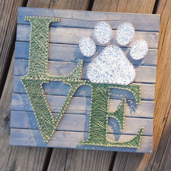 String Art String art Love String Art LOVE Dog Paw by GrizzlyandCo