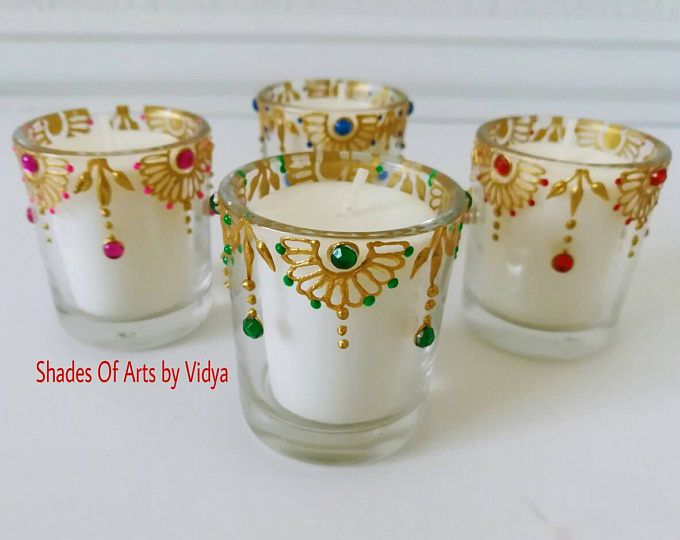 Set of 4 votive candle holders /Diwali candles /wedding favor /wedding decor /festive decor/ henna party favor/ henna candles/ home decor