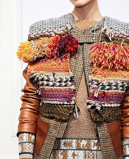 G A R M E N T /// D e s i g n e r: Suno Fall 2011 //// I t e m: Knit embellished/ multi layered jacket with leather sleeves and ethic textile additions.