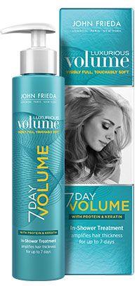 John Frieda Luxurious Volume 7 Day Volume In Shower Treatment transformeert fijn, futloos haar en maakt je haar dikker van binnenuit, wel 7 dagen lang. Deze in-shower treatment is speciaal ontwikkeld om je haar een volume boost te geven zonder het te hoeven stylen.