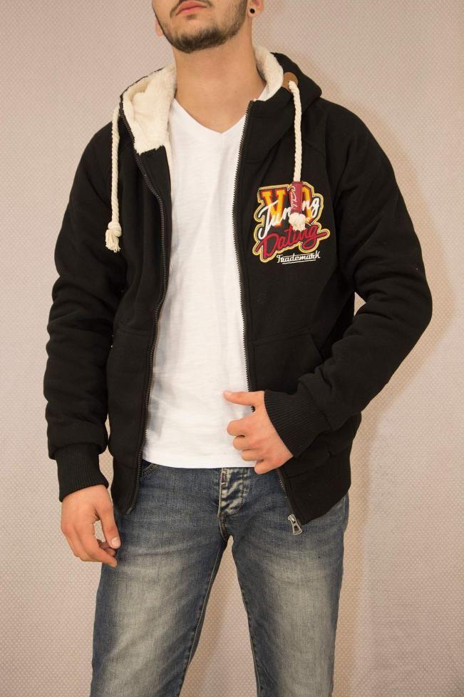 Ανδρική ζακέτα φούτερ με επένδυση γούνα  FOUT-1201-bc Φούτερ - Sport & αθλητικά