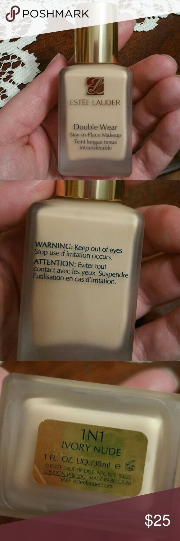 Estee Lauder Double Wear Stay-in-Place Foundation Shade 1N1 Ivory Nude. Light with yellow undertones. Used 3-4 times. Purchased new from Ulta. No box. Estee Lauder Makeup Foundation