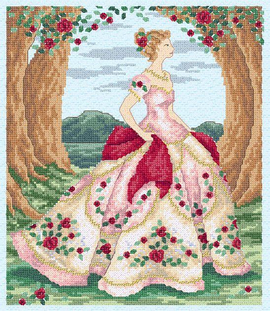 Free Rose Cross Stitch Charts | Maria Diaz Designs: ROSE (Cross-stitch chart)