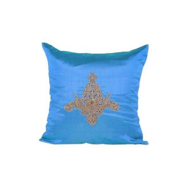 NOVICA Hand Embroidered Blue Floral Cushion Cover from India ($45) ❤ liked on Polyvore featuring home, home decor, throw pillows, blue, cushion covers, pillows & throws, blue toss pillows, floral toss pillow, indian throw pillows and blue accent pillows