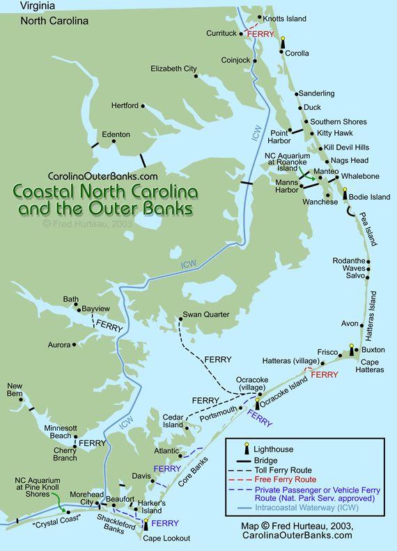 Map of Outer Banks - Core Banks, Shakleford Banks, Crystal Coast