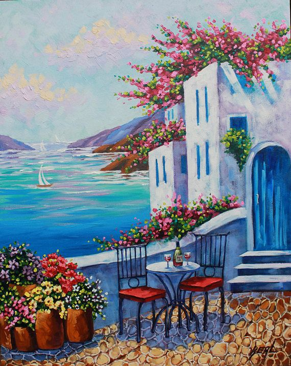 artist giclee of santorini greek isles print on canvas