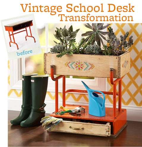 Upsidedown desk = Super cute garden