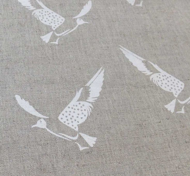 Printed Linen Fabric with Bird pattern by Ada & Ina