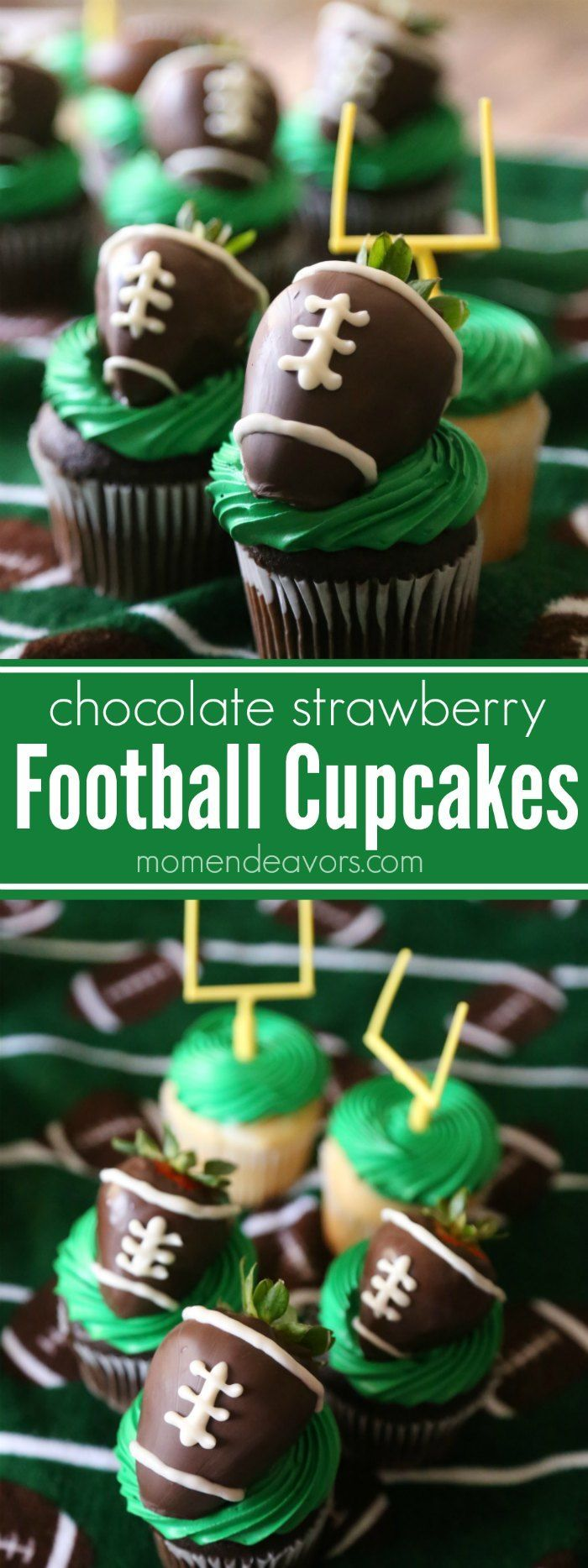 These Football Cupcakes are the perfect game day dessert for tailgating or a football party - easy cupcakes topped with chocolate covered strawberry footballs!