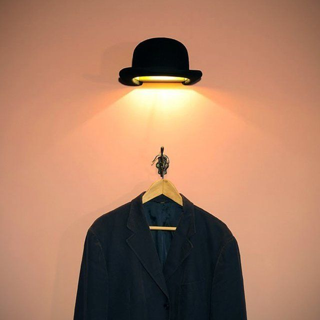 Jeeves Bowler Wall Light / The Jeeves Bowler Wall Light is an adorable piece of art and history combined into a functional and modern household use item. http://thegadgetflow.com/portfolio/jeeves-bowler-wall-light/