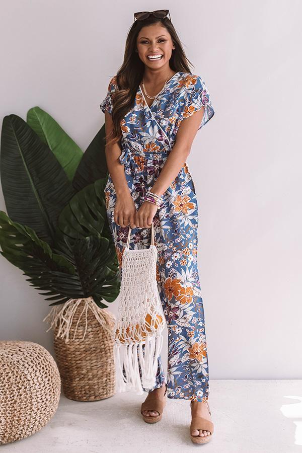 e10c1f2aff566 Waikiki Sunsets Floral Jumpsuit Floral Jumpsuit, Sunsets, Short Sleeve  Dresses, Sunset