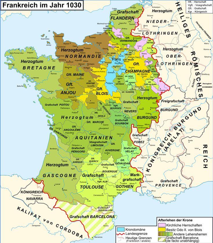 Frankreich im Jahr 1030 - Gebietsaufteilung