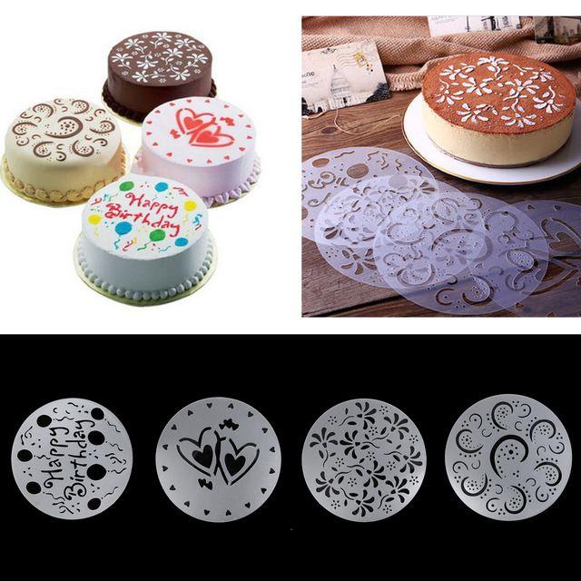 4 unids stencil panadería torta de la galleta herramienta de pasta de azúcar del molde Para Hornear Baking Fondant Cake Plantilla de La Plantilla Del Molde de Cumpleaños Decoración Espiral