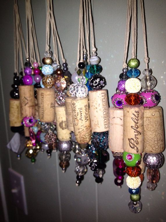 Upcycled Cork Christmas Tree Ornaments by theperidotwindow on Etsy, $25.00