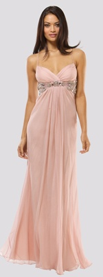 Dusty Rose Chiffon Ruched Beaded Empire Waist Prom Dress