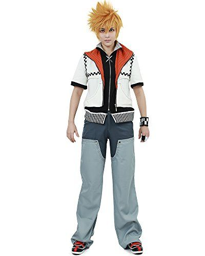 Miccostumes Mens Kingdom Hearts Roxas Cosplay Costume Extra Large Grey and White -- Continue to the product at the image link.