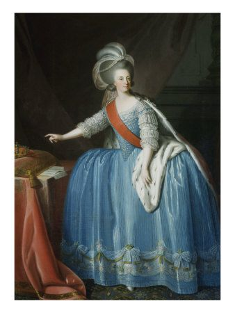 Maria I, Queen of Portugal (1734-1816), daughter of Joseph I, King of Portugal & Mariana Victoria of Spain. Maria was an Infanta of Portugal, Princess of Beira, Princess of Brazil & later Queen of Portugal (1777-1816) in her own right. She married Peter, the brother of her father, Joseph I, King of Portugal, who became Peter III, King Consort of Portugal.