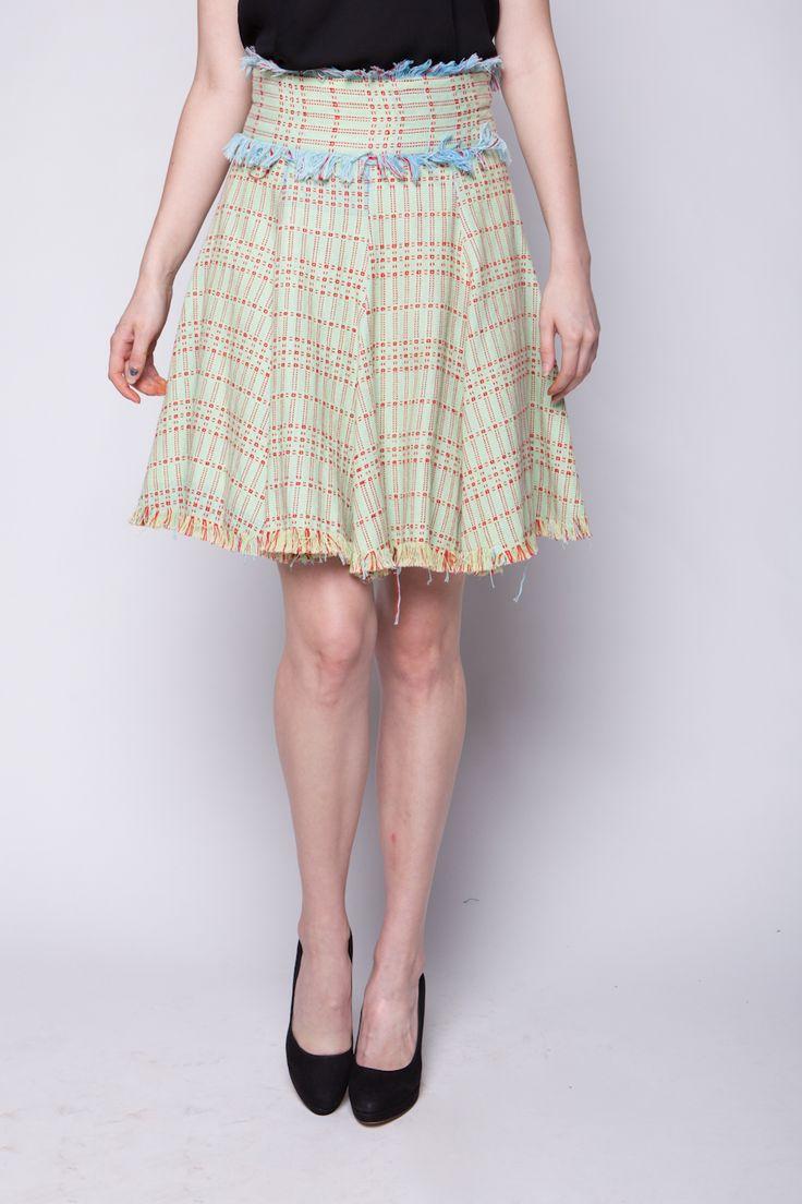 Lekat Flare Skirt Tenun Hijau Muda