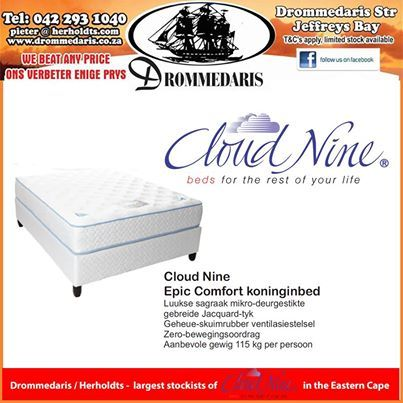 Time to sleep in comfort with the range of Cloud Nine Mattress and base sets from Drommedaris. Trade in your old set and get the money back or as part of the price of the new one. #Sleepcomfort #retailsales
