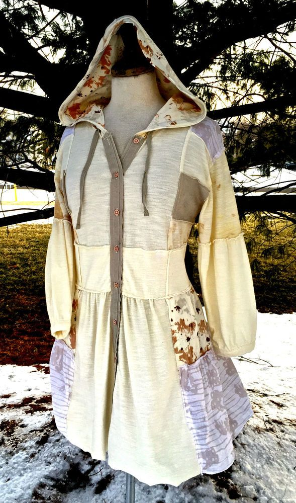 NWT $148 Free People ivory PATCHWORK HOOD COATDRESS taupe tan cotton jersey  S | Одежда, обувь и аксессуары, Одежда для женщин, Платья | eBay!