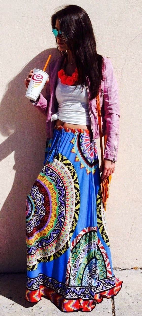 Adorable tribal long maxi skirt and white tank