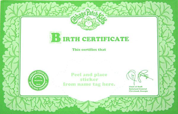 printable cabbage patch birth certificate | cabbage patch kid ballerina pink tutu 1995 this a 1980 s cabbage patch ...