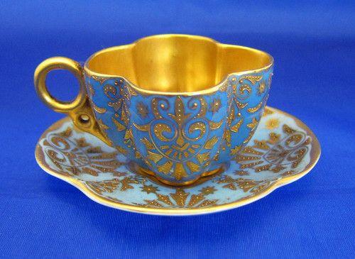 Coalport China Porcelain Turquoise Blue & Gold Demitasse Cup & Saucer, c. 1891