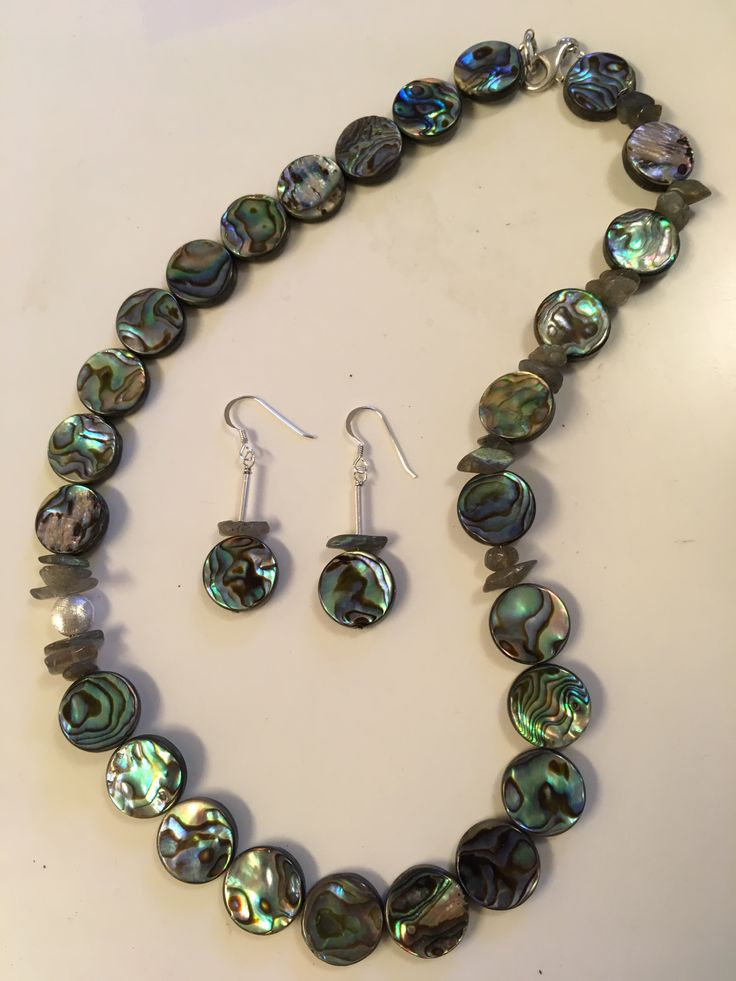 Necklace and earrings set made by Carin Lundhquist. Abalone, labradorit and sterling silver.