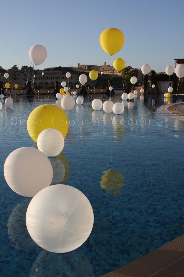 Balloon decoration pool wedding wedding ideas for Pond decorations